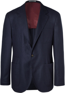 Navy Unstructured Wool, Silk And Cashmere-blend Blazer - Navy
