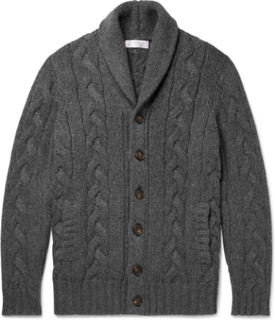 Cable-knit Cashmere Cardigan - Gray