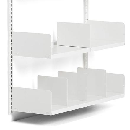 Bogstøtte Højre Hvid for L- og T-søjler samt vægskinner.