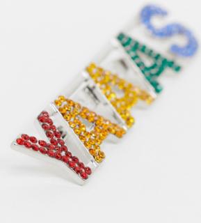 Topman x PRIDE badge with slogan in multicolour