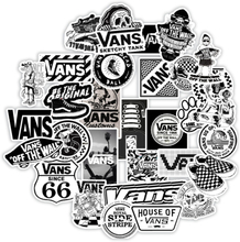 50PCS White and Black Vans Stickers For Scrapbooking Laptop Guitar Skateboard Suitcase Decal Animal Puppy Sticker