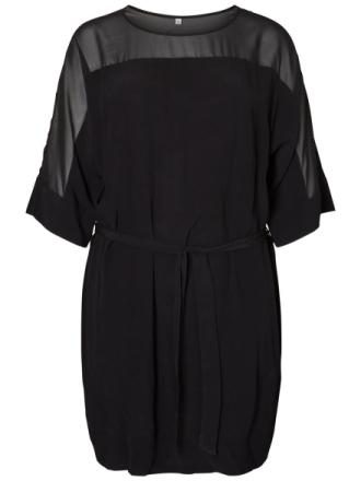 JUNAROSE Mesh Tie-belt Dress Women Black