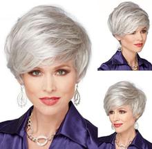 Mode Silver Blanda Korta Peruker Med Lockigt Vågigt Hår Peruk Silver