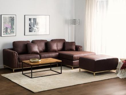 Sofa med chaiselong - hjørnesofa - Old Style brun - Oslo