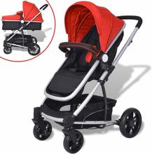 vidaXL 2-i-1 Sitt-/liggvagn aluminium röd och svart