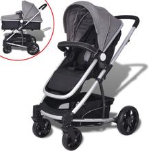 vidaXL 2-i-1 Sitt-/liggvagn aluminium grå och svart