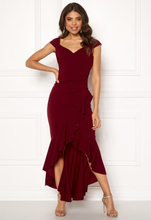 63c7a496ca75 Goddiva Wrap Front Frill Dress Wine XS (UK8)