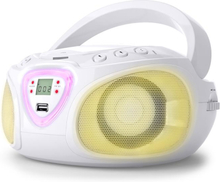 Roadie Boombox CD USB MP3 MW/UKW-Radio Bluetooth 2.1 LED-Färgspel vit