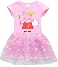 Genuine Peppa Pig Dress 2020 Girls Cotton Cartoon Stars Mesh Peppa Pig Short Sleeve Fashion Cute Princess Dress