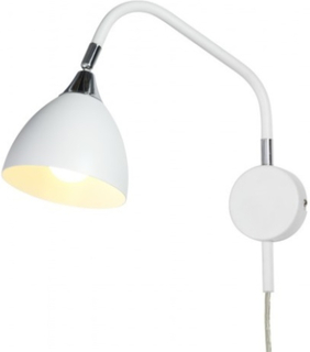 Läza Vägglampa - Vit/Krom