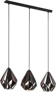 Eglo taklampa carlton 1 3x60 w svart och koppar 49991