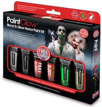 Teater blod and selvglowing face- and bodypaint set