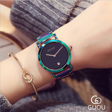 GUOU Fashion Watch Women Watches Top Brand Luxury Women's Watches GUOU Auto Date Ladies Watch Clock zegarek damski reloj mujer