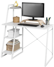 SoBuy Skrivbord med bokhylla Hörnbord, Bord: Längd 100 cm Bredd 50 cm Höjd 75 cm, vit, FWT29-W