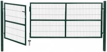 Hageport med stolper 350x120 cm stål grønn