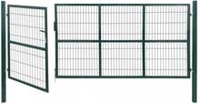 Hageport med stolper 350x140 cm stål grønn