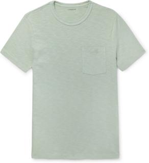 Garment-dyed Slub Cotton-jersey T-shirt - Blue