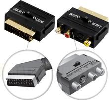 Adapter, SCART output til 3xRCA+S-Video, In-/Ut-switch, gullbelagte kontakter
