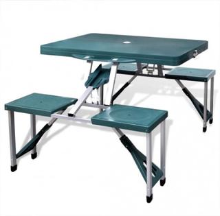 Hopfällbart campingbord med 4 stolar i aluminium ljusgrönt