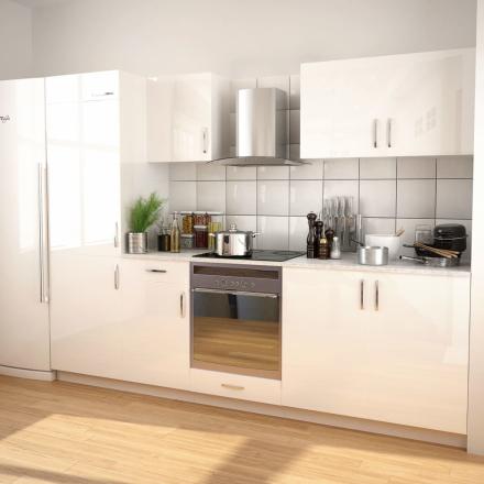 vidaXL 7 delars köksskåp set med köksfläkt högglans vit