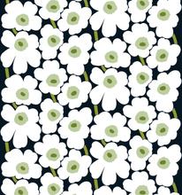 Pieni Unikko kangas musta-valkoinen-vihreä