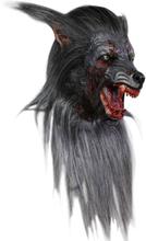 Black Wolf - Heltäckande Latexmask med Hår