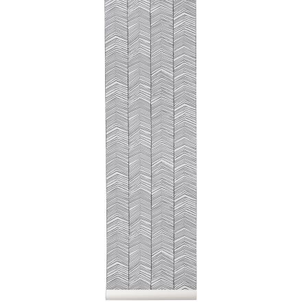Herringbone-tapetti mustavalkoinen
