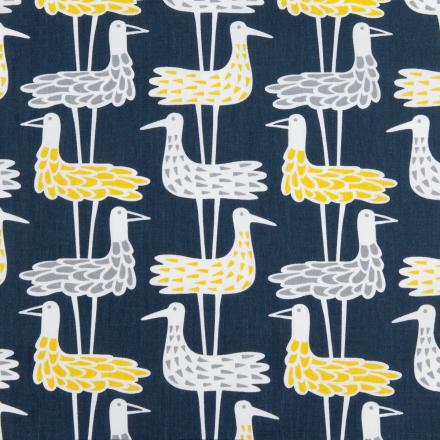 Shore birds stoff blå