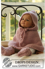 Little Peach by DROPS Design - Baby Poncho og Tofflor Stick-mönster st