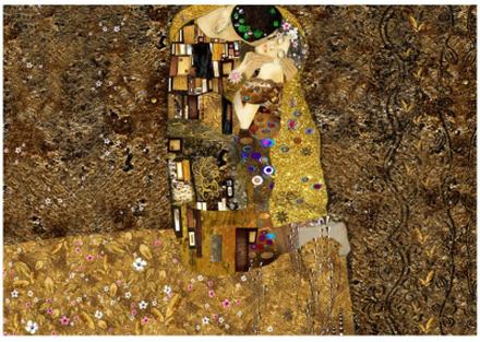 Scandinavian Artstore Fototapet - Klimt inspiration: Golden Kiss - 400x280 cm