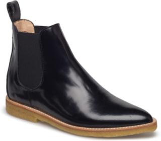 Booties - Flat - With Elastic Støvletter Chelsea Boot Svart ANGULUS
