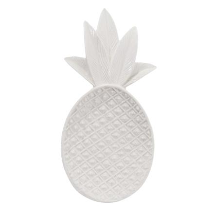 Pineapple koristetarjotin valkoinen