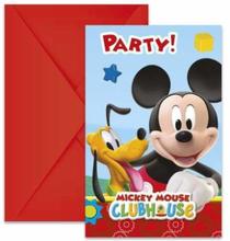 Mikke Mus Party Invitasjoner - 6 stk