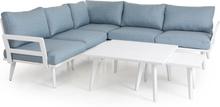Villac soffgrupp Vit med aqua dyna 3-sits divansoffa, 2 st soffbord & fåtölj
