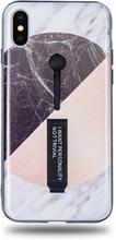 Modeskal med fingerhållare till iPhone X/XS i grått marmor med olika motiv i cirkel