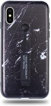 Modeskal med fingerhållare till iPhone X/XS i mörkt marmor med ljusa penseldrag