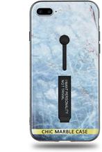 Modeskal med fingerhållare till iPhone 7/8 Plus med ljusblått marmor