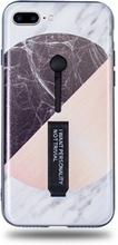 Modeskal med fingerhållare till iPhone 7/8 Plus i grått marmor med olika motiv i cirkel