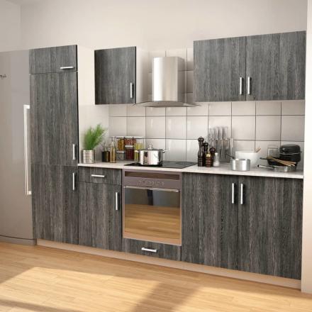 vidaXL 7 delars köksskåp set med köksfläkt wengeimitation