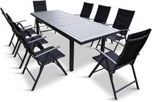 Förlängningsbart bord i aluminium 180-240cm   8 positionsstolar