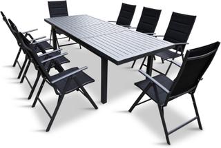 Förlängningsbart bord i aluminium 180-240cm | 8 positionsstolar
