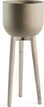 LAFORMA Stahl urtepotteskjuler - rustbrun/natur cement/akacietræ, rund (Ø40)