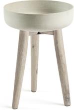 LAFORMA Stahl urtepotteskjuler - grå/natur cement/akacietræ, rund (Ø39)
