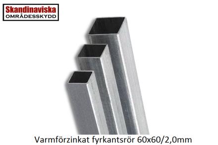 Stålrör VFZ 60x60x2mm Profil 60/60/5800mm