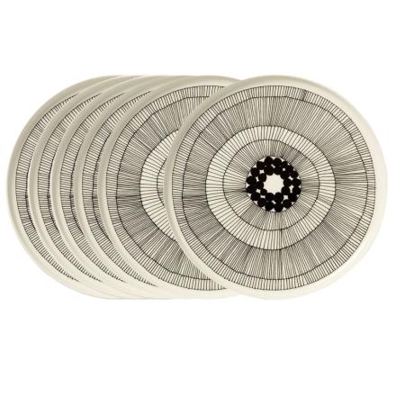 Siirtolapuutarha lautanen Ø 25 cm, 6 kpl musta-valkoinen