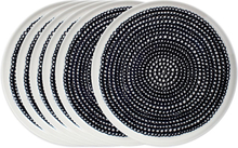 Räsymatto lautanen 20 cm, 6 kpl musta-valkoinen (pikkupallollinen)