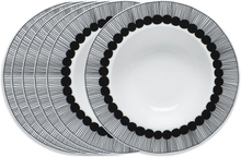 Siirtolapuutarha syvä lautanen Ø 20 cm, 6 kpl musta-valkoinen