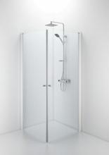 Ifö Space rett dør m/knoppgrep 90 x 185 cm, Klart glass/Hvit profil - Kun 1 dør