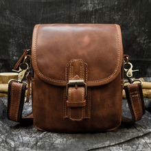 Men's Genuine Leather Waist Bag 2 Use Wow Leather Small Messenger Bag Cowhide Fanny Waist Pack Real Leather Shoulder Bag Brown