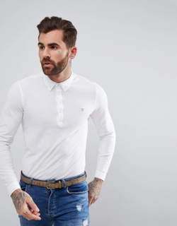 Farah Merriweather Long Sleeve Slim Fit Polo Shirt In White - White